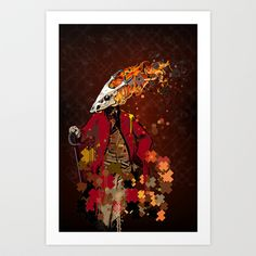 Burning Trooper Art Print featuring illustrated piece with generative art graphics created with the Hype Framework and Processing.