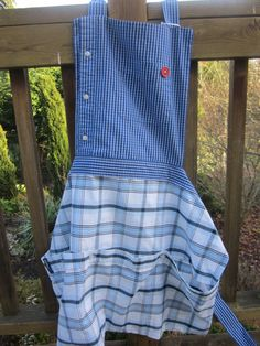 Items similar to Upcycled Men's Shirt Aprons on Etsy Men's Shirt Apron, Apron Dress, Sewing Aprons, Sewing Clothes, Jean Apron, Cool Aprons, Fabric Yarn, Aprons Vintage, Shirt Refashion