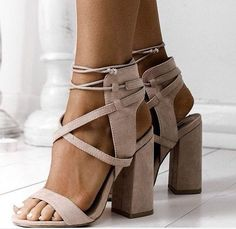 ankle strap thick heels lace up women sandal