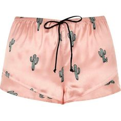 River Island Pink cactus print pajama shorts (100 BRL) ❤ liked on Polyvore featuring intimates, sleepwear, pajamas, shorts, bottoms, pijamas, lingerie & sleepwear, pajamas / loungewear, pink and women