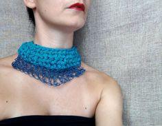 Paper yarn necklace collar necklace silk yarn by WearitCrochet