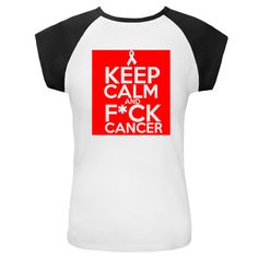 Keep Calm and F*ck Cancer funny slogan on Blood Cancer awareness shirts, apparel and gear featuring an awareness ribbon    #fuckcancer #fuckbloodcancer #fuckcancershirts