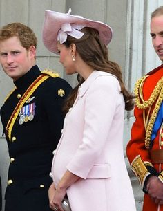 (L-R) Prince Harry, Catherine, Duchess of Cambridge and Prince William,  Duke of Cambridge appear on the balcony of Buckingham Palace for 'Trooping the Colour' in London, UK, on 15 June 2013
