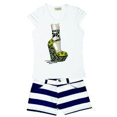 "Conj.Short Sintético Listrado Blusa ½ Malha Estampa ""SAPATO"" Tamanhos: 04 ao 12 #fashion #style #beautiful #model #moda #primavera #verao #brasil  #vrasalon #webstagram"