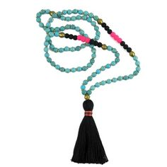 Turquoise + Bronze Tassel Necklace
