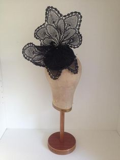 Black Sculpted Vintage Lace Headpiece by Murley & Co MIllinery