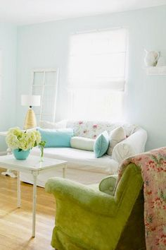 light blue painted living area with vintage furniture and floral decorative accents, pantone placid blue color of the month february 2014 Comfy Cozy Home, Living Spaces, Living Room, Living Area, Popular Paint Colors, Diy Pallet Furniture, Vintage Furniture, Sea Glass Colors, Apartment Living