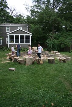 wood stumps in a circle - kids play