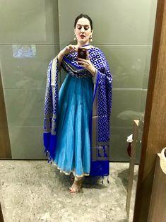 Nandini by Niti J Kundu - Her Crochet Dress Indian Style, Indian Dresses, Indian Wear, Indian Outfits, Kurta Designs Women, Salwar Designs, Blouse Designs, Diwali Fashion, Indian Fashion