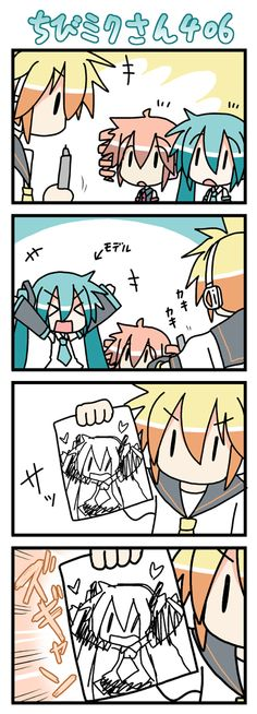 #vocaloid #anime Len tries to draw (which he can't do that either :D )