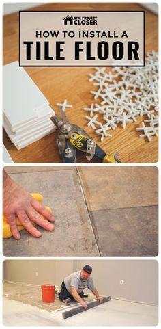 tile flooring How to Install a Tile Floor (Complete Guide) - One Project Closer Installing Tile Floor, Tile Floor Diy, Laying Tile Floor, Tile Floor Designs, Bathroom Designs, Wood Tile Floors, Diy Flooring, How To Lay Tile, How To Install Tile