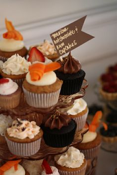menu included: a Lemon-Vodka Martini cake, Mexican Hot Chocolate 'n Rum Cupcakes, Hawaiian Guava Cupcakes, Triple Strawberry Cupcakes, Almond-Orange-Lavender Cupcakes, Carrots 'n Cream Cupcakes, Coconutty Cupcakes, Blueberries 'n Cream Tartlettes, and Raspberry-Lemon Tartlettes.