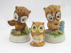 Antique owl figurines | Photo of Vintage baby owl figurine lot, retro 70s porcelain owls ...