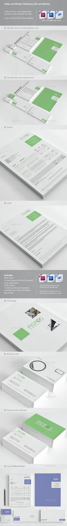Buy Clean & Modern Stationery, Invoice and Identity by chrisatlemon on GraphicRiver. File description: Stationery set featuring invoices, letter and cover page templates. Also included are business card. Stationery Printing, Stationery Templates, Stationery Design, Print Templates, Invoice Design Template, Invoice Format, Design Templates, Corporate Stationary, Corporate Identity