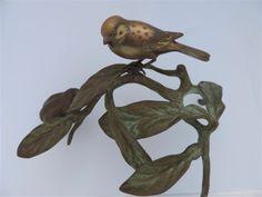 ANTIQUE SIGNED JAPANESE MEIJI MIXED METAL BIRD ON TREE BRANCH OKIMONO SCULPTURE #Meiji
