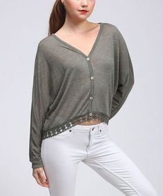 This Olive Button-Up Dolman Sweater is perfect! #zulilyfinds