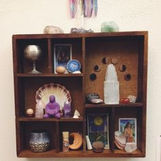 Water Alter by Moondaughter via The Bohemian Collective. I love the idea of using a shadow box type thing with compartments as a shrine or altar up on the wall. Wicca Altar, Arte Elemental, Home Altar, Crystal Grid, Crystal Altar, Meditation Space, Witch Aesthetic, Book Of Shadows, Stone Painting