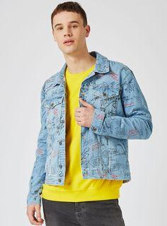 Blue Doodle Print Denim Jacket