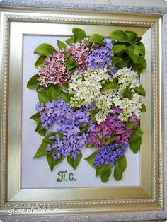 Картина панно рисунок Лепка СИРЕНЬ Голубая лиловая синяя белая Гипс Глина Картон Песок Фарфор холодный фото 1