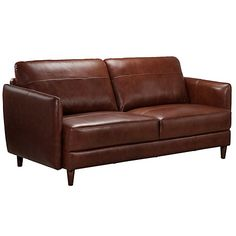 Buy John Lewis Hoxton Small Leather Sofa, Bonanza Chestnut from our Sofas & Sofa Beds range at John Lewis & Partners. Small Leather Sofa, Leather Cover, Small Space Living, Living Spaces, Industrial Style, Industrial Design, Slim Arms, Bonded Leather, John Lewis