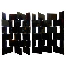 """Pair of Black Lacquer Folding""""Block"""" Screens  France  1970s  The design of these screens has been obviously been inspired by the screen Charlotte Perriand designed in 1922."""