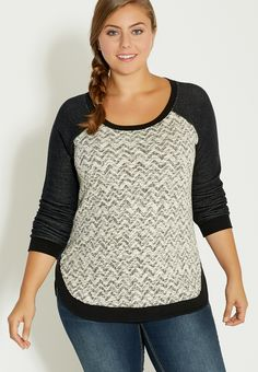 plus size pullover with chevron patterned front - #maurices