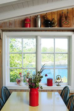 Homes: Norwegian House: View of lake through the kitchen window