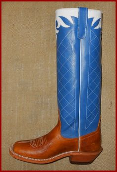 #16154-16in-BOURBON OIL SHOULDER-BLUE-SQUARE TOE-LEATHER SOLE-COWBOY UNDERSLUNG HEEL-PRICE-$329.00
