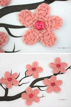 Cherry Blossom Flower Crochet Pattern by Repeat Crafter Me