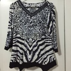 Parsley and Sage Top This is a cute black, white and lavender top. The top is in good condition and is made of 100% cozy cotton. Parsley and Sage Tops