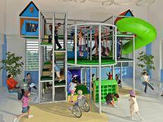 Kids Playhouse Plans, Kids Indoor Playhouse, Kids Indoor Playground, Build A Playhouse, Indoor Play Equipment, Indoor Playroom, Diy Toddler Bed, Kids Daycare, Disney Home Decor