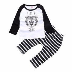 Baby Boy's Tiger Long Sleeve Tee/Top & Black and White Striped Pants/Bottom Set in Black