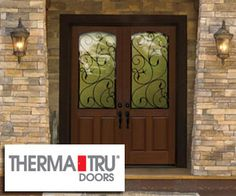beautiful scrollwork on the glass in these double therma tru entry doors we install these