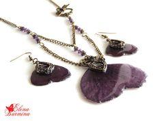 Купить Комплект из лепестков фиолетовой мальвы под ювелирной смолой - темно-фиолетовый, фиолетовый, мальва