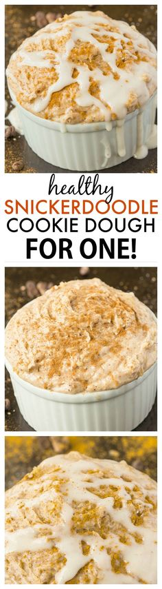 Healthy Snickerdoodle for ONE recipe! Perfect for breakfast or snack which tastes like snickerdoodle cookie dough batter- Creamy and protein packed! {vegan, gluten-free, paleo option}- thebigmansworld.com