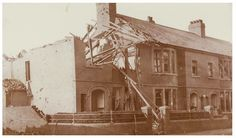 Damage caused by air raid at Roath, Cardiff, during the Second World War