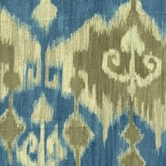 Berkly+Taupe+and+Turquoise+Ikat+Drapery+Fabric
