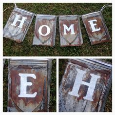 Banner made from antique tin roof shingles. Metal Roof Tiles, Tin Tiles, Tin Ceiling Tiles, Corrugated Tin, Corrugated Roofing, Tin Roofing, Metal Projects, Cool Diy Projects, Barn Tin