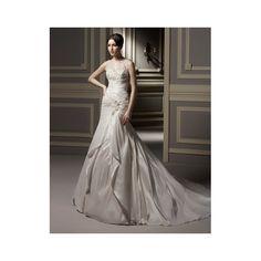 A-line Strap V Neck Beading And Applique Slit Chapel Train Wedding Dress - Star Bridal Apparel