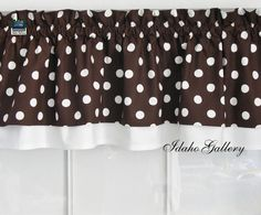 Brown with White Dot Double Layer Little Curtain Retro Style Valance. Etsy: $22.50