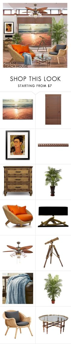 """""""Waterfront Property"""" by queenofsienna ❤ liked on Polyvore featuring interior, interiors, interior design, hogar, home decor, interior decorating, Universal Lighting and Decor, Nearly Natural, Dot & Bo y Sika"""