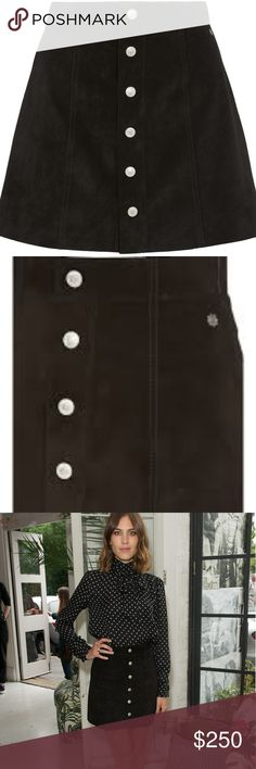 Alexa Chung AG Gove Black Suede Skirt A line 100% Italian suede AG Jean skirt Ag Adriano Goldschmied Skirts A-Line or Full