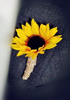 $4.99 Sunflower Boutonniere With Burlap Wrapped Stem