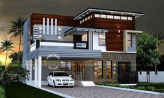 Modern House Exterior Elevation Designs Indian Home Design Photo Gallery Contemporary Photos Wood Siding Plans With Decor - Modern House Interior Design Beautiful Exterior See Bungalow Haus Design, Duplex House Design, House Design Photos, House Front Design, Small House Design, Modern House Design, Villa Design, Indian Home Design, Kerala House Design
