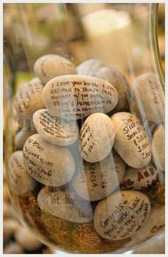 Have guests write notes of love on rocks instead of having a guest book.