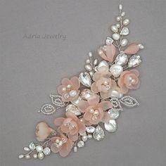 Blush rosa diademas tocados de novia marfil Flor nupcial