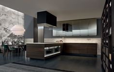 Minimal kitchen with base units and tall units in spessart oak. Open tall unit in spessart oak with black mat lacquered metal profiles and shelves and wicker baskets.