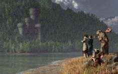 Prints: daniel-eskridge.artistwebsites… Four fantasy heroes rest on the shore of a wide gentle river. Among them is a armored warrior, a sorceress, a massive ogre, and a grumpy dwarf. ...