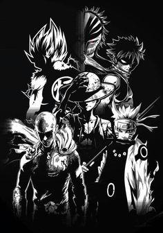 Naruto, Saitama, Luffy, Natsu, Goku et Kurosaki - Naruto shippuden, One punch man, One piece, Fairy tail, Dragon ball et Bleach