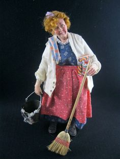 Dollhouse Character Doll by Marcia Backstrom OOAK Dollhouse Dolls, Miniature Dolls, Dollhouse Miniatures, Julie Campbell, The Master And Margarita, White Apron, Fairy Dolls, Ooak Dolls, After Dark
